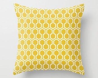 Honeycomb Geometric Pillow Cover - Mustard Yellow -  Modern Throw Pillow - Home Decor - By Aldari Home