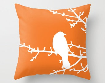 Bird on Twig Pillow Cover - Bird Throw PIllow - Tangerine Orange and White Pillow Cover - Modern Home Decor - includes insert