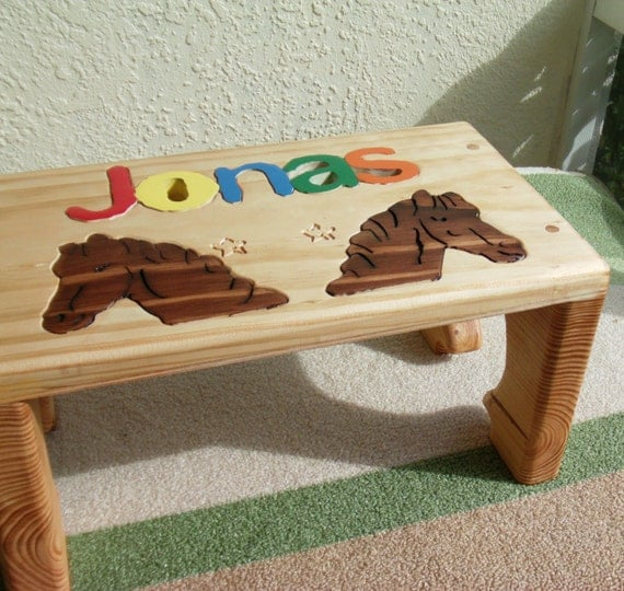 Personalized Step Stool And Puzzle Stool With Name