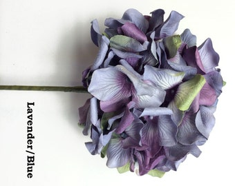 5 Stems of  Handmade Paper/Parchment Hydrangea-Lavender/Blue/Green