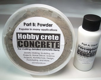 Hobbycrete concrete mix 9 oz. kit for making concrete jewelry or other detailed concrete items