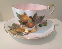 Vintage- Queen Anne Bone China Tea Cup and Saucer Set Made in England- Pears and Flowers