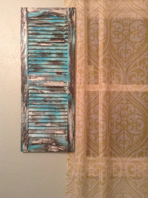 to vintage distressed shutters with turquoise accents set 2 on etsy