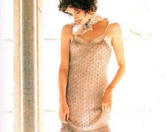 Knitting Pattern for - 'Butterfly', a pretty, lace-knit, beaded strappy dress, knitted in fine mohair