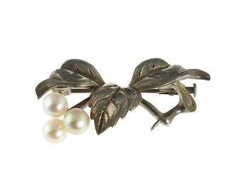 SALE--Sterling Silver and Cultured Pearl Brooch
