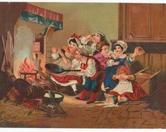 Victorian Lithograph of children making pancakes in a fireplace. c.1880