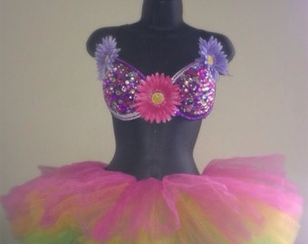 Purple and Pink EDC Rave Bra + Rainbow Tutu Full Outfit Costume