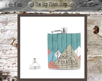 Your Mountain is Waiting Liquor Flask Funnel Customize / Personalize, FREE!