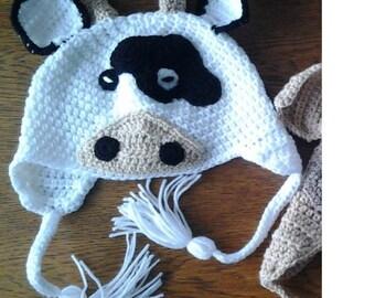 Crochet cow hat for kids