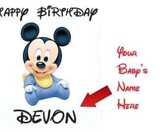 Baby Mickey  Birthday onesie or Tee Shirts   Great Birthday or shower gift