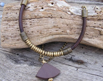 Upcycled Leather Necklace, Leather Jewelry