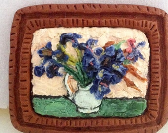 Customizable: Polymer Clay Painting after Van Gogh Irises sculpey