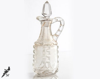 Art Deco Cut Glass/Crystal Cruet with Faceted Stopper - Great Detailing!