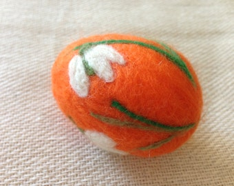Needle felting egg. Lilies of the valley.