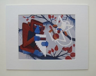 Pan Flute and Banjolele Duet print on canvas or paper