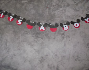 """Disney Mickey Mouse """"It's A Boy"""" banner. Great for Baby Showers. It's a boy baby shower decorations.  Free Shipping"""