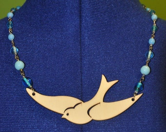 Wood Bird with Blue Glass Beaded Necklace