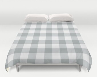 Plaid Gingham Duvet Cover, cabin bedroom decor, grey queen duvet cover, gray king duvet cover, queen size duvet covers