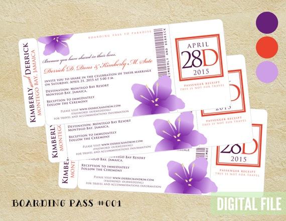 Floral BOARDING PASS wedding invitation ~ Tropical invite ~ Digital File