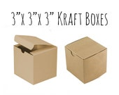 "10 Pack of 3 x 3 x 3"" Square Kraft Boxes, Wedding Favor Boxes, Gift Box, Cupcake Box, Kraft Paper Cardboard Box, Candy Box, Wedding Ideas"