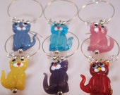 Cat Wine Charms, House Warming Gifts, Glass Art Beads Set of 6, Kittens, Cute Glass Markers, Kitty Cats, Cat Lady, Gifts for Cat Lovers