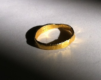Paper Finish Solid 24k Gold Ring