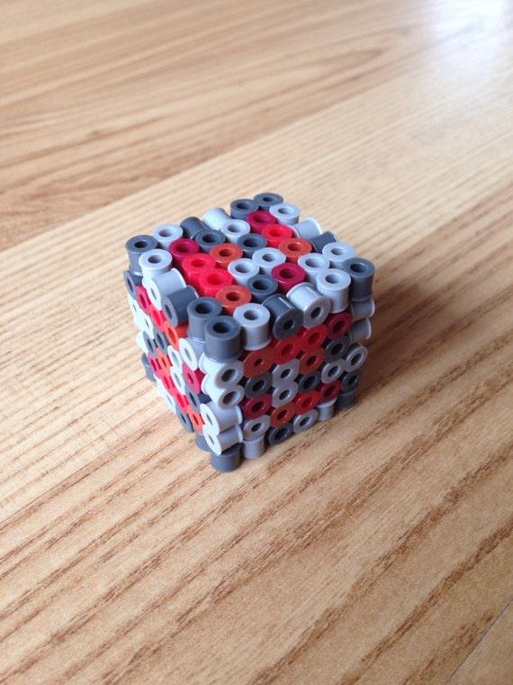 mini minecraft inspired redstone ore 3d perler beads block. Black Bedroom Furniture Sets. Home Design Ideas