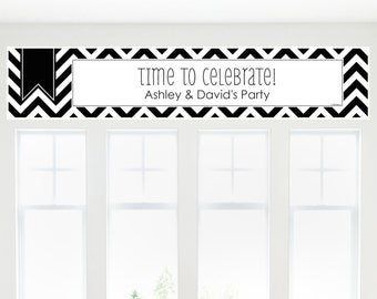Black and White Chevron Banner - Custom Party Decorations