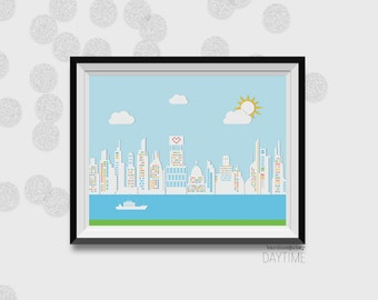 Skyscraper, 8 Bit Art, City Icon, City, Skyscraper Print, Art Print, Daytime Print, Nighttime Print, Nature Print, Art Print