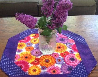 Table Topper, Spring, Floral, Whimsical  Purple, Pink and Orange Summer Blooms Table Decor