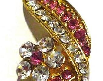 1 pc Flower  Leaf Pink and Clear White Rhinestone Brooch Pin Gold Tone B23