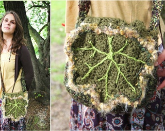 Spring Ivy leafy green bag, fairy accessory, Fae clothing, inspired by nature, from the forest for pixies and fairies - wearable textile art