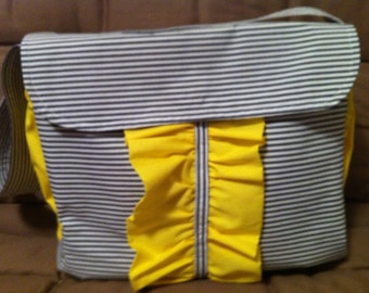Gray and White Stripe Diaper Bag with Yellow Accents