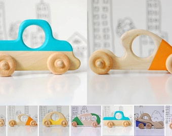 Eco Friendly Wooden Car and Truck Toy Set - Wood Toys - Rainbow Toy