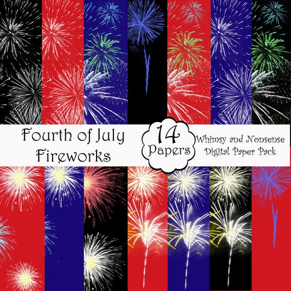 Fourth of July Independence Day Fireworks digital Scrapbook 14 Pages Instant Download Printable Patriotic Pages Cards Bookmarks Invitations