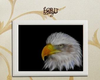 Fractal Eagle Print, Animal Fractal Print, Animal Art Print, Room Wall Art Poster, Wall Decor