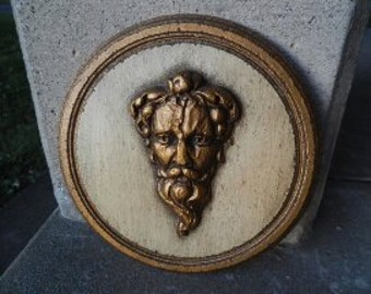 Unique Vintage Wall Hanging with Raised Face of Greek God Zeus!