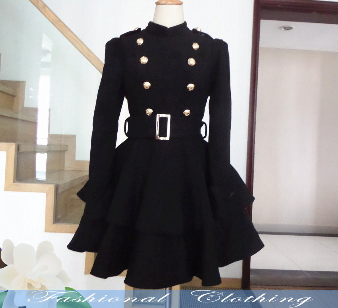 black coat wool coat winter coat spring autumn coat warm coat