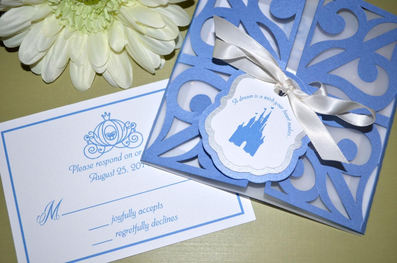 fairy tale wedding invitations cinderella wedding invitations Wedding Invitations Cinderella Gate Fold zoom