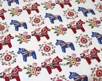 Scandinavian Swedish Vintage  Dala Horse Canvas Fabric