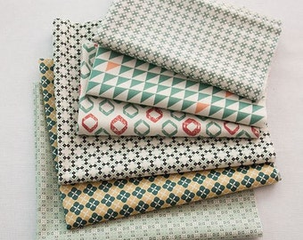 Scandinavian Nordic Swedish Vintage Simple Patten Fabric Cotton 100% Panel, 6 Design fabric Package