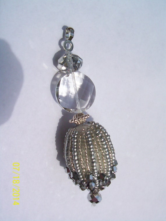 Hand Beaded Ceiling Fan Pull Silver Pearls Silver And Clear