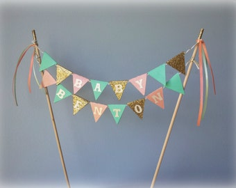 Peach, mint and gold glitter cake bunting banner topper, PERSONALIZED.  Birthday, baby shower, bridal shower.