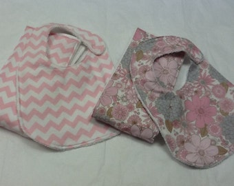 Baby bib and burp cloth set in pink chevron and pink and gray flowers