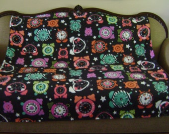 Clocks and Colorful Flower Double Sided Fleece Blanket