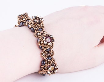 Tutorial for 'Pretty Crowns All in a Row' Bracelet. Beading Pattern. PDF!
