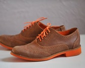 S A L E Vintage Cole Haan Wingtip Oxford Loafer Leather Shoe Lace Up Bright Orange Rubber Sole & Short Heel Ladies size 8.5