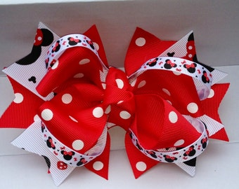 Minnie Mouse Hair Bow red and black white