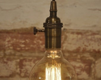 Antique Brass Turn Knob Pendant Light Fixture Hanging Plug in Canopy Vintage