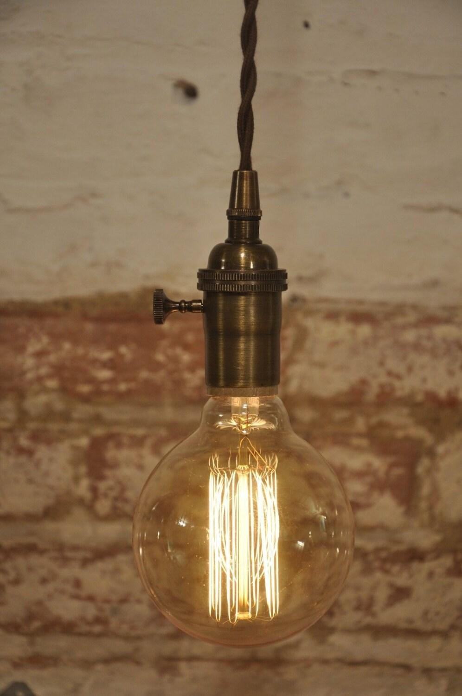 Antique Brass Turn Knob Pendant Light Fixture Hanging Plug In
